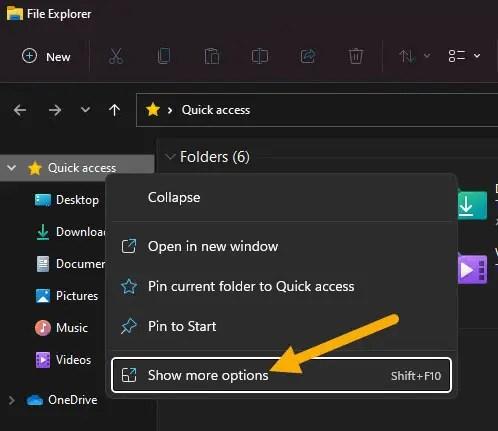 open folder options from quick access right-click menu