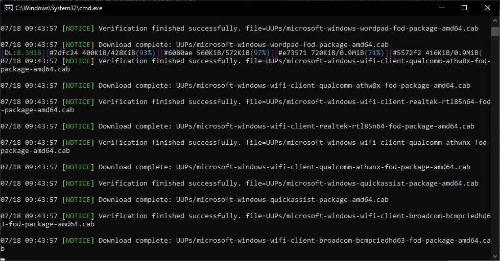 script running to download Windows 11 iso