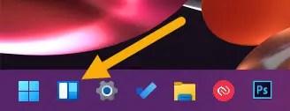 widget icon on the taskbar
