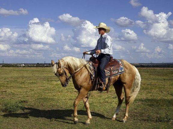 seorang joki sedang berkuda