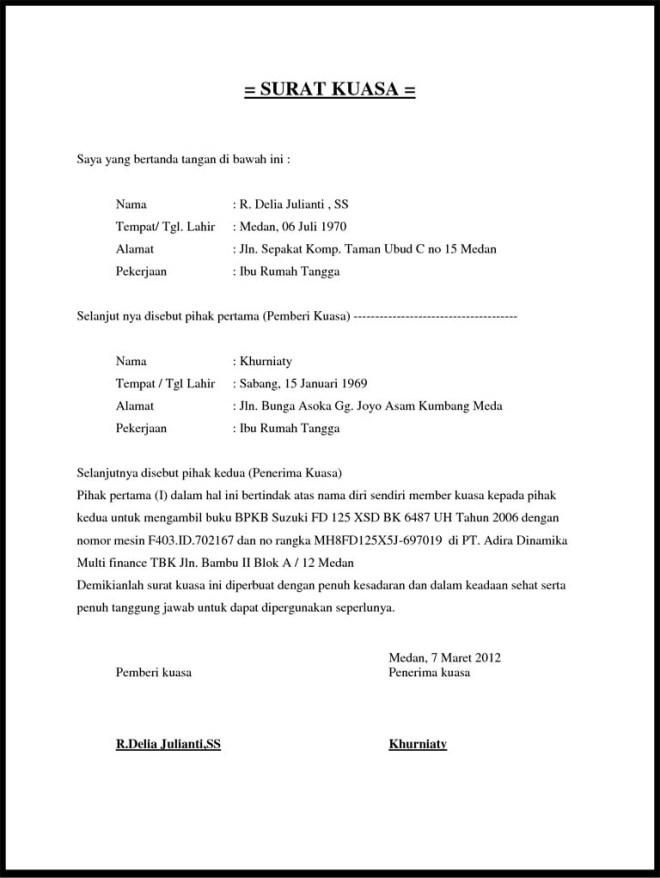 Contoh Surat Kuasa Pengambilan BPKB resmi