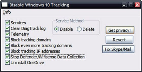 Disable Windows 10 tracking