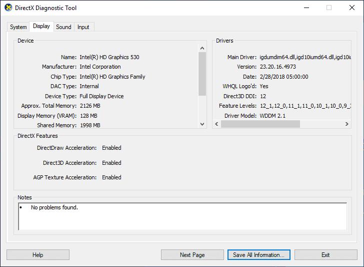 DirectX 12 Display Properties