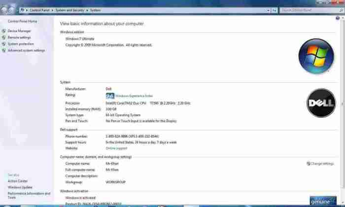 Windows 7 Properties screenshot