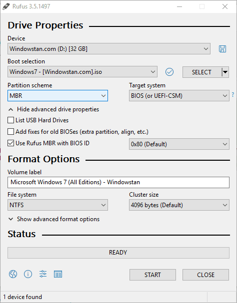 Use Rufus to create Windows bootable USB from ISO image