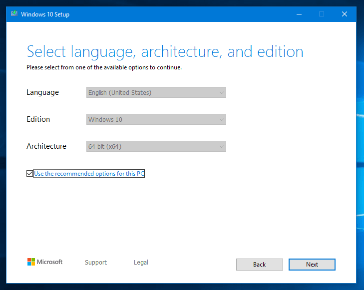auto select recommended language, architecture and edition