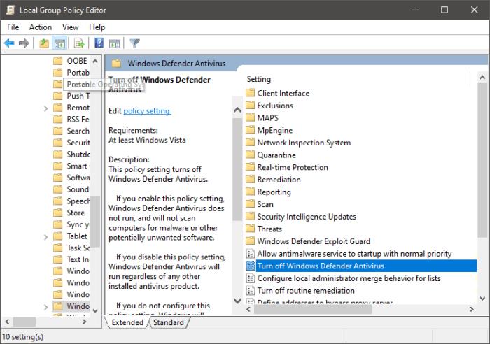 GPEdit Turn off Windows Defender Antivirus Policy