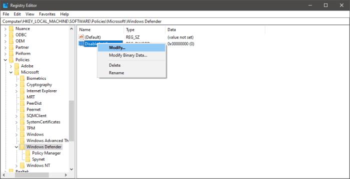 Modify DisableAntiSpyware key value