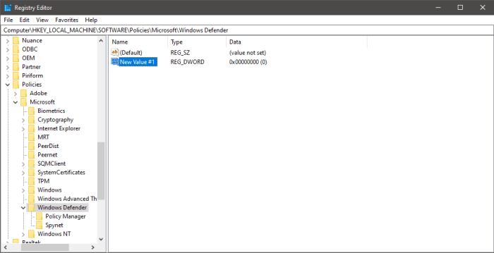 Regedit new DWORD key created with default name