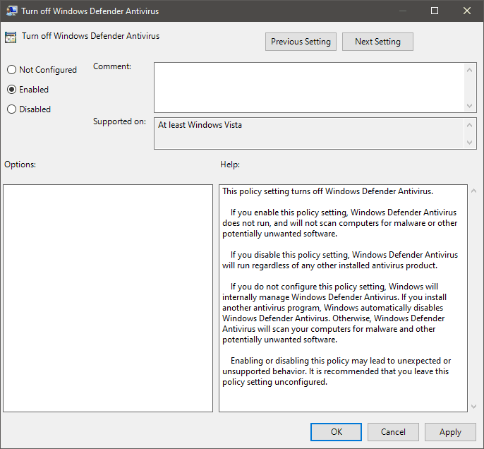 Turn off Windows Defender Antivirus from Group Policy Editor