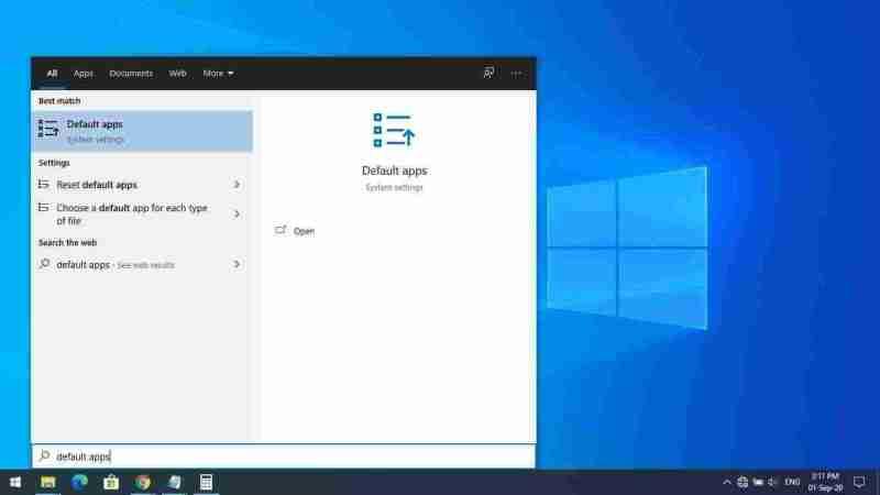 1-Open Default Apps in Windows 10