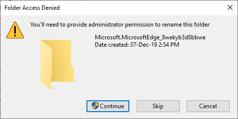 3-folder access denied - need administrative permission to rename the folder