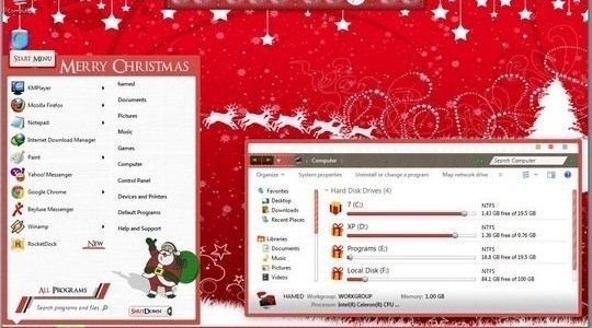 Christmas Cartoon Windows 7 Theme