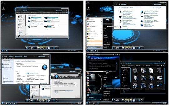 Download Free Blue Alienware Windows 7 Skin Pack