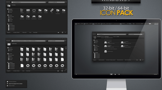 Black White Windows 7 Icon Pack