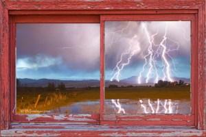 Lightning Striking Longs Peak Red Rustic Picture Window Frame Art