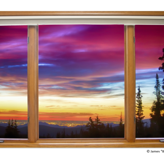 City Lights Sunrise Contemporary Wood Window View 32″x48″x1.25″ Premium Canvas Wrap