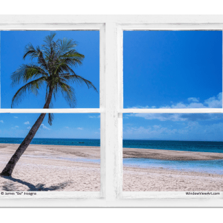 Tropical Paradise Whitewash Picture Window View 30″x40″x1.25″ Premium Canvas Gallery Wrap