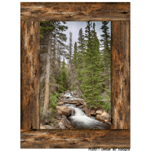 Mountain Stream Cabin Window View 30″x40″x1.25″ Premium Canvas Gallery Wrap