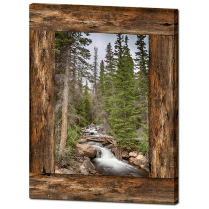 Mountain Stream Cabin Window View 30″x40″x1.25″ Premium Canvas Gallery Wrap