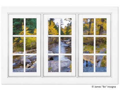 Autumn Creek 18 Pane White Picture Window  View 32″x48″x1.25″ Premium Canvas Gallery Wrap Art