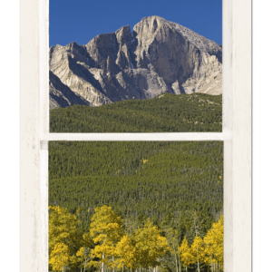 Golden Longs Peak View Through White Rustic Distressed Window 24″x36″x1.25″ Premium Canvas Gallery Wrap
