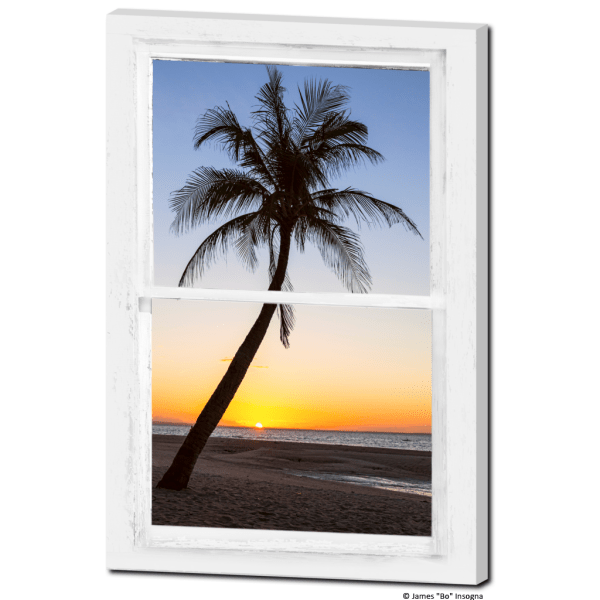 Tropical Paradise Sunset Whitewashed Window View 24″x36″x1.25″ Premium Canvas Gallery Wrap
