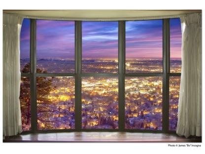 City Lights Bay Window View 32″x48″x1.25″ Premium Canvas Gallery Wrap