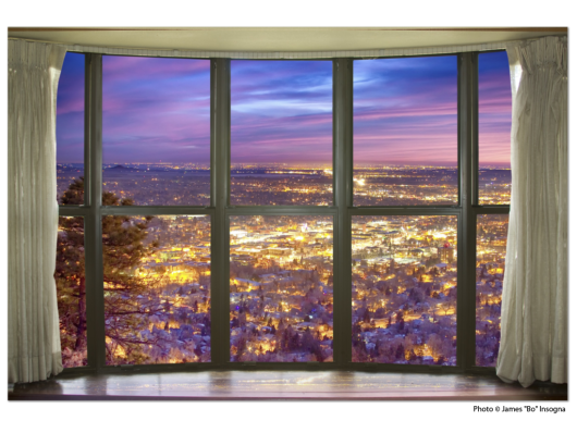 City Lights Bay Window View 32″x48″x1.25″ Premium Canvas Gallery Wrap
