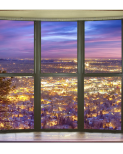 City Lights Window View Art