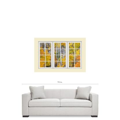 Aspen Tree Forest Cream 24 Pane Window View 32″x48″x1.25″ Premium Canvas Gallery Wrap