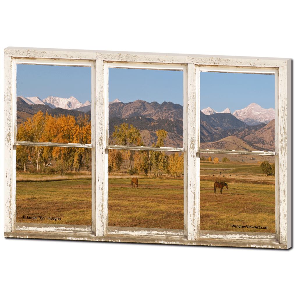 Colorado Horses Autumn Mountain Peaks Rustic Window View 32x48x125