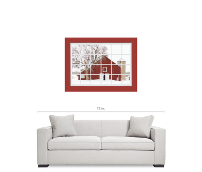 Red Picture Window Winter Season Red Barn View 32″x48″x1.25″ Premium Canvas Gallery Wrap
