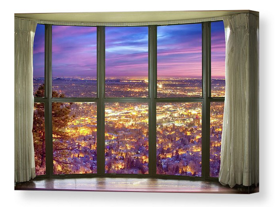 Beautiful City Lights Bay Window View Canvas Print