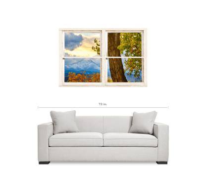Colorado Rocky Mountains Rustic Window View 32″x48″x1.25″ Premium Canvas Gallery Wrap