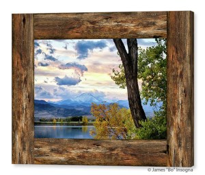 Rocky Mountain Longs Peak Rustic Cabin Window View Canvas Art Print
