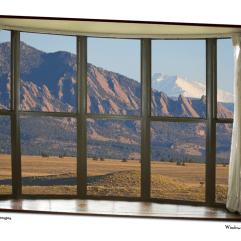 Rocky Mountain Flatirons with Snowy Longs Peak Bay Window View 32″x48″x1.25″ Premium Canvas Art Gallery Wrap