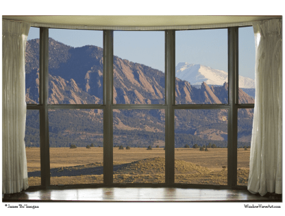 Rocky Mountain Flatirons with Snowy Longs Peak Bay Window View 32″x48″x1.25″ Premium Canvas Art Gallery Wrap