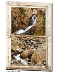 Colorado Boulder Falls Rustic Picture Window  24″x36″x1.25″ Premium Canvas Gallery Wrap Art