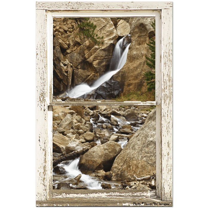 "Colorado Boulder Falls Rustic Picture Window  24""x36""x1.25"" Premium Canvas Gallery Wrap"