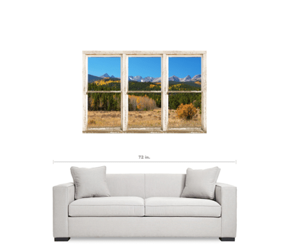 High Elevation Rocky Mountain Peaks White Rustic Window Art 32″x48″x1.25″ Premium Canvas Wrap