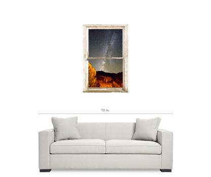 Autumn Milky Way Night Sky Rustic Window View 24″x36″x1.25″ Canvas Wrap Art