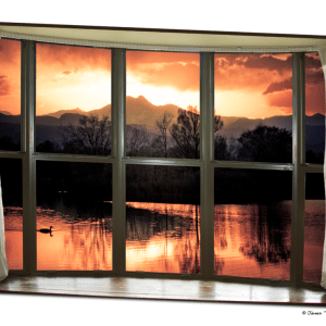 Rocky Mountain Golden Sunset White Rustic Farm House Window View 32″x48″x1.25″ Canvas Wrap Art