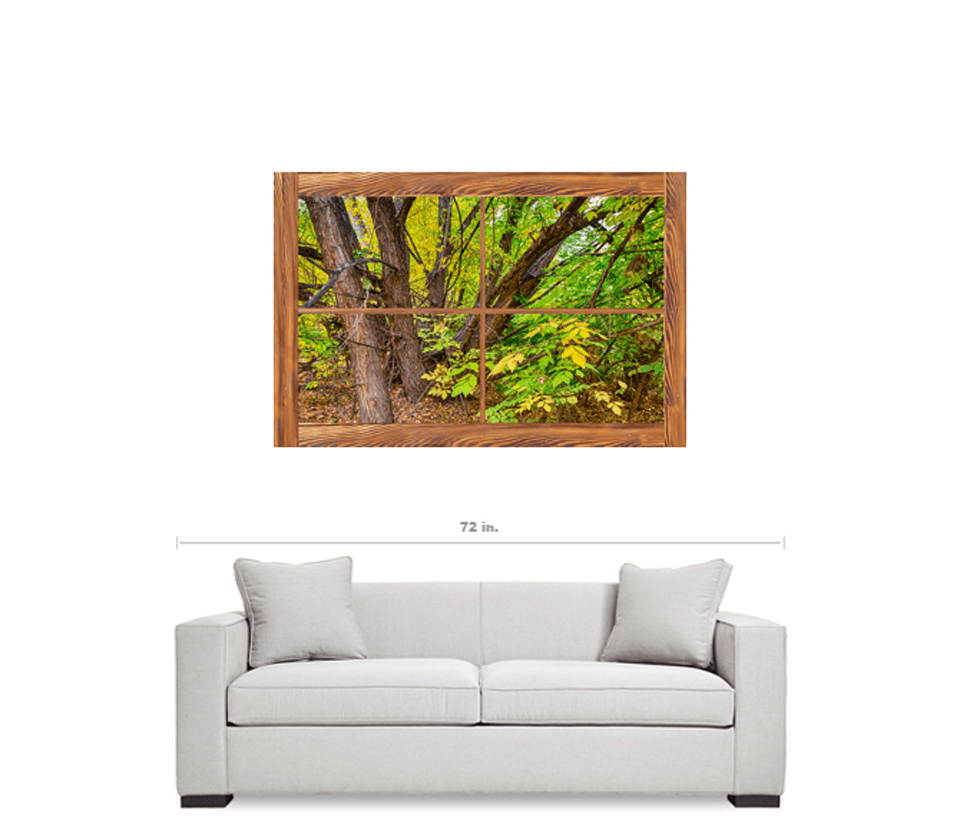 "Barn Wood Picture Window Forest View 32""x48""x1.25"" Premium Canvas Gallery Wrap Art"