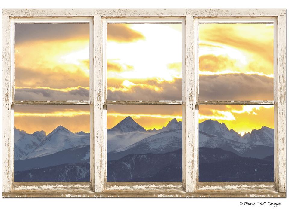 "Rocky Mountain Sunset White Rustic Farm House Window View 32""x48""x1.25"" Canvas Wrap Art"