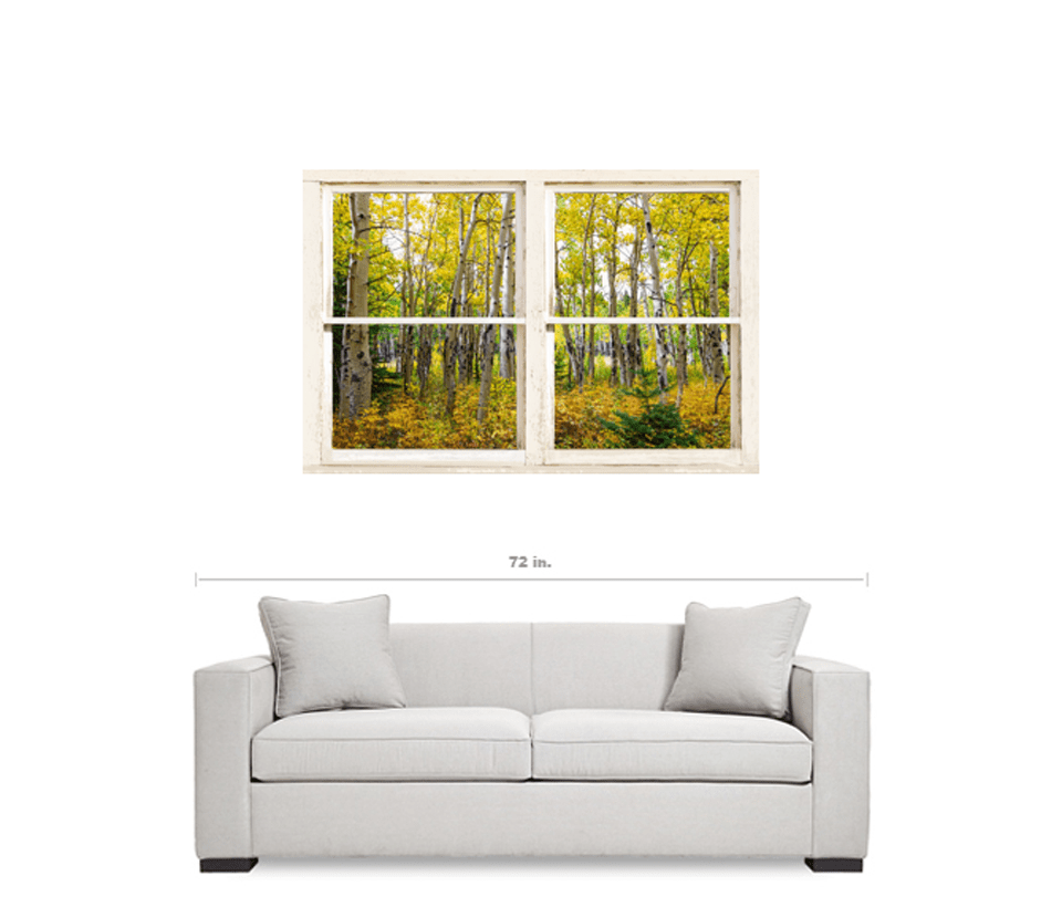"Golden Forest Rustic White Farmhouse Window View 32""x48""x1.25"""