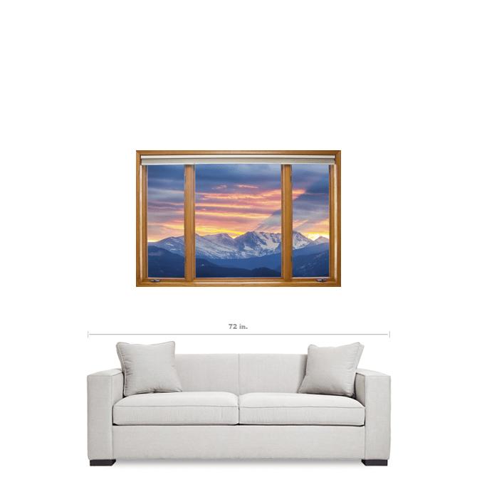 "Colorado Rocky Mountain Sunset Waves Classic Wood Window 24""x36""x1.25"" Canvas Wrap Art"