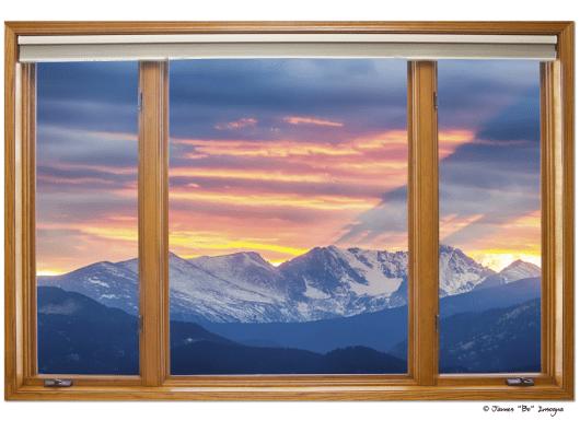 Colorado Rocky Mountain Sunset Waves Pt 1 Classic Wood Window View 32″x48″x1.25″ Canvas Wrap Art