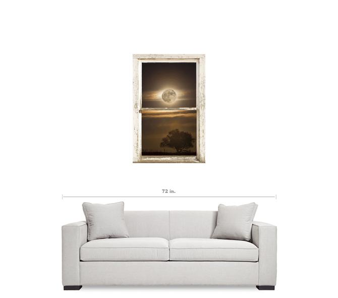 "Supermoon Country Tree Rustic Window View 24""x36""x1.25"" Premium Canvas Wrap Art"