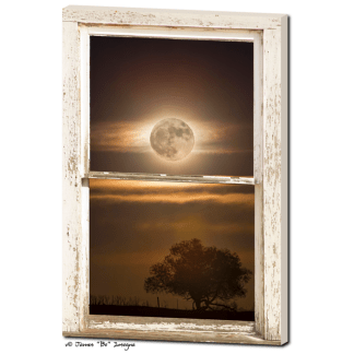 Country Tree with Supermoon Rustic Window View 24″x36″x1.25″ Premium Canvas Wrap Art